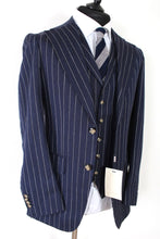 Load image into Gallery viewer, NWT Suitsupply Havana Navy Blue Stripe Wide Lapel 3 Piece Suit - Size 38R