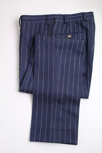 NWT Suitsupply Havana Navy Blue Stripe Wide Lapel 3 Piece Suit - Size 38R