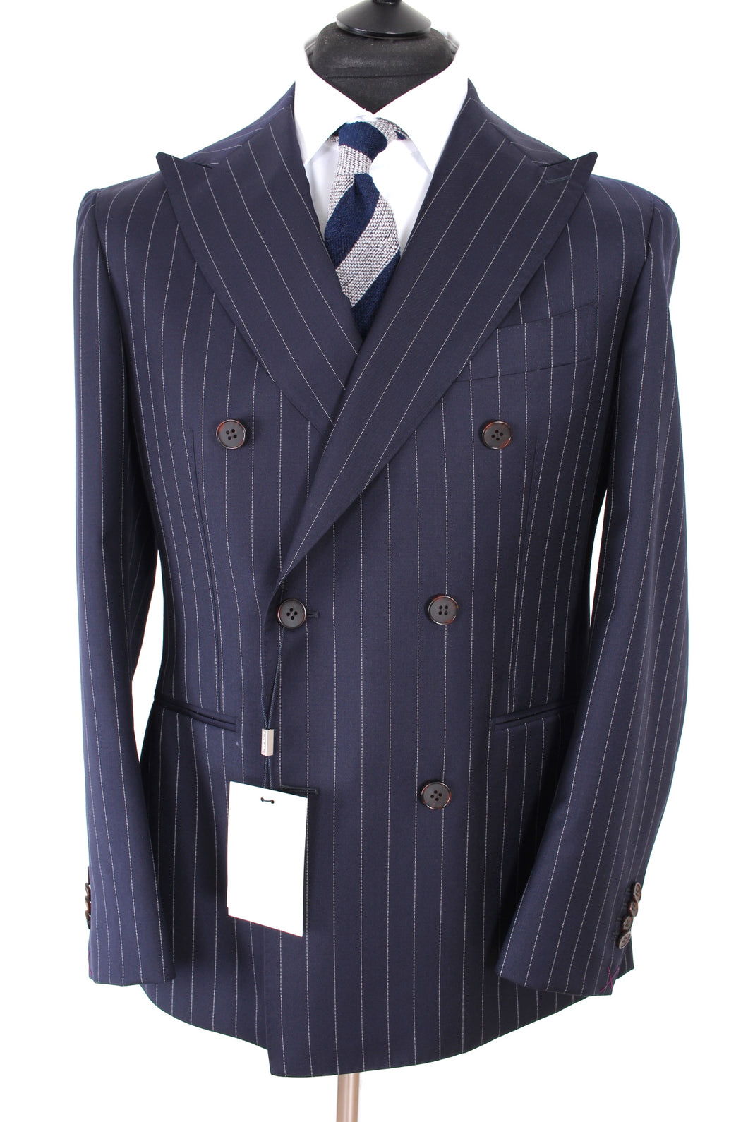NWT Suitsupply Havana Navy Blue Pinstripe 100% Wool DB Suit - Size 34R and 40R