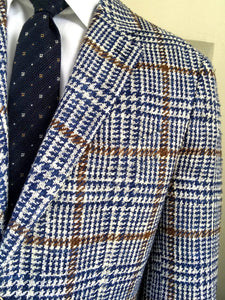 New With Tags SUITSUPPLY HAVANA Blue Check Silk and Cotton Blazer - Size 46S
