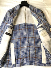 Load image into Gallery viewer, New With Tags SUITSUPPLY HAVANA Blue Check Silk and Cotton Blazer - Size 46S