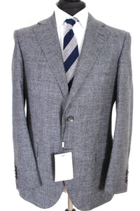NWT Suitsupply Lazio Silver Gray Wool, Silk and Linen Suit - Size 42S