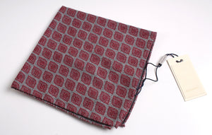 New With Tags SUITSUPPLY Red Flower 100% Wool Pocket Square