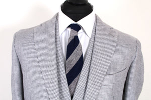 NWT Suitsupply Havana Gray Houndstooth 100$ Linen 3 Piece Suit - Size 42R