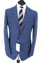 Load image into Gallery viewer, NWT Suitsupply Havana Blue Check Wool, Silk and Linen Suit - Size 38R