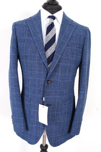 NWT Suitsupply Havana Blue Check Wool, Silk and Linen Suit - Size 38R