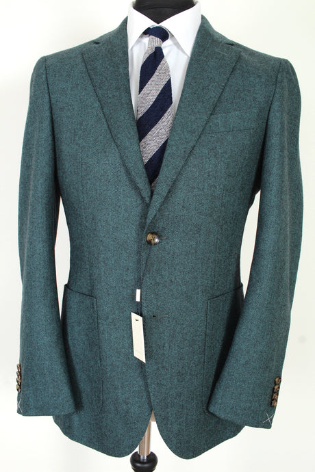 NWT Suitsupply Havana Green Herringbone Wool and Cashmere Blazer - Size 38R