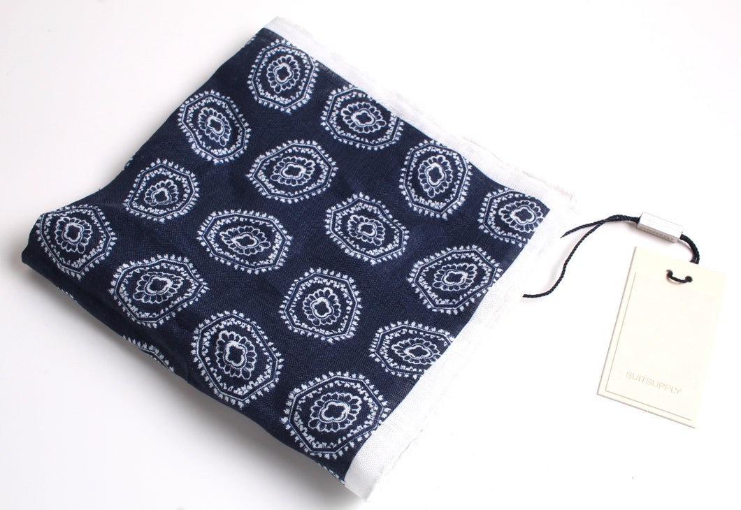 New With Tags SUITSUPPLY Navy Graphic 100% Linen Pocket Square