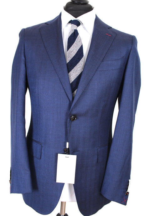 NWT Suitsupply La Spalla Navy Blue Subtle Stripe Wool, Silk and Linen Suit - Size 38R