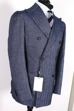 Load image into Gallery viewer, NWT Suitsupply Havana Blue Herringbone  54% Camel Suit - Size 38R