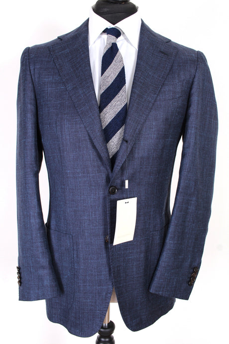 NWT Suitsupply Orazio Luciano Navy Blue Silk, Linen and Cashmere Blazer - Size 38R