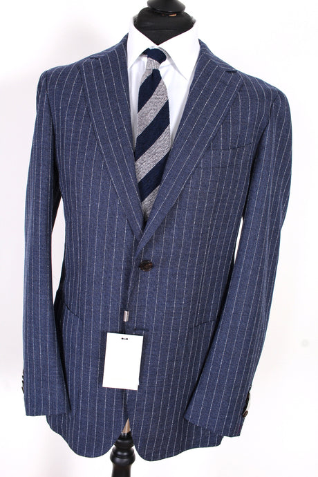NWT Suitsupply Havana Blue Stripe 100% Wool Traveller Blazer - Size 44R