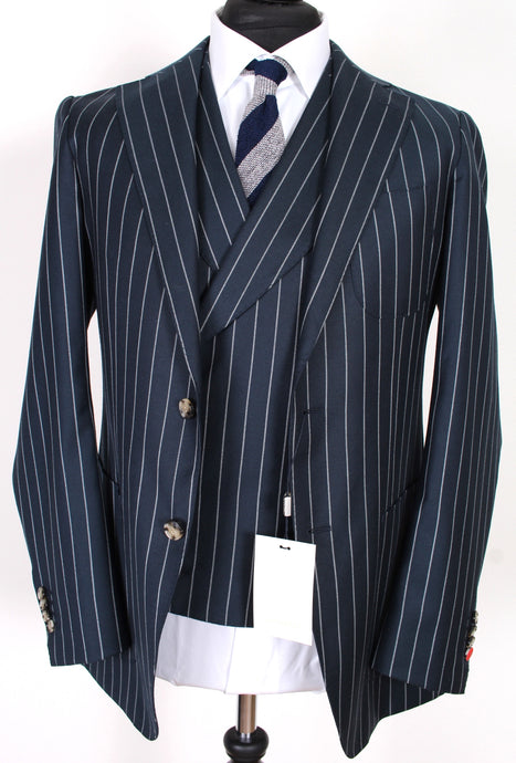 NWT Suitsupply Havana Blue Stripe 100% Wool 3 Piece Suit - Size 38R