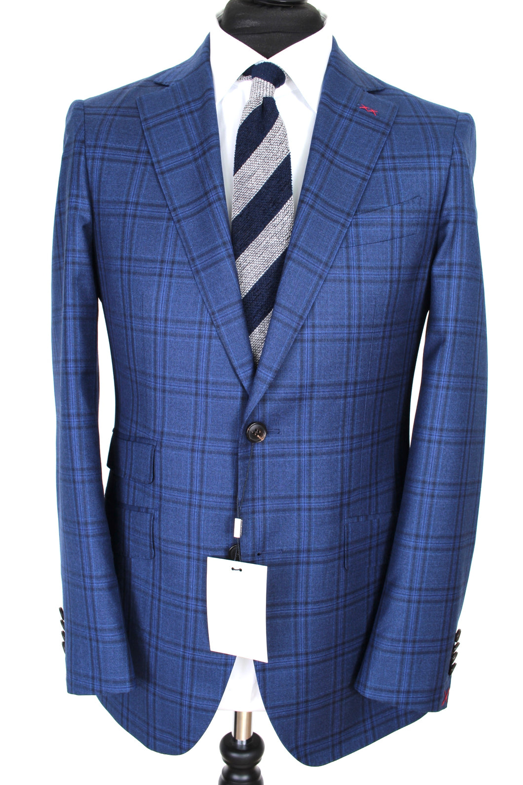 NWT Suitsupply La Spalla Blue Check 100% Wool Suit - Size 38R