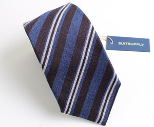 New With Tags SUITSUPPLY Blue and Brown Stripe Wool and Silk Tie