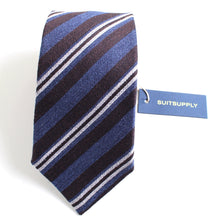 Load image into Gallery viewer, New With Tags SUITSUPPLY Blue and Brown Stripe Wool and Silk Tie