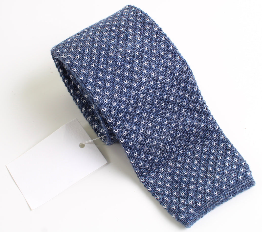 New With Tags SUITSUPPLY Blue Textured 100% Cotton Knit Tie