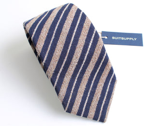 New With Tags SUITSUPPLY Brown and Blue Stripe 100% Wool Tie
