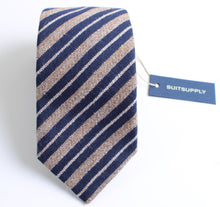 Load image into Gallery viewer, New With Tags SUITSUPPLY Brown and Blue Stripe 100% Wool Tie