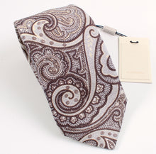 Load image into Gallery viewer, New With Tags SUITSUPPLY Brown Paisley 100% Linen Tie