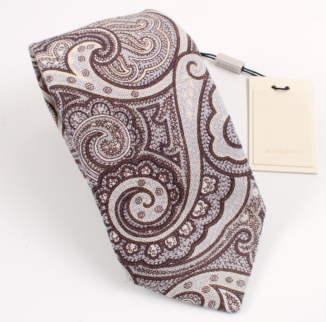 New With Tags SUITSUPPLY Brown Paisley 100% Linen Tie