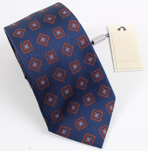 New With Tags SUITSUPPLY Navy and Brown Square 100% Silk Tie