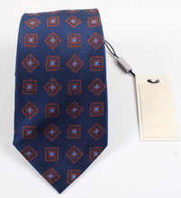 Load image into Gallery viewer, New With Tags SUITSUPPLY Navy and Brown Square 100% Silk Tie