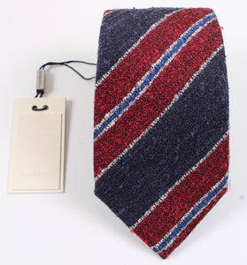 New With Tags SUITSUPPLY Navy Red Stripe 100% Silk Tie