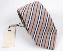 Load image into Gallery viewer, New With Tags SUITSUPPLY Light Brown Stripe Silk and Cotton Tie
