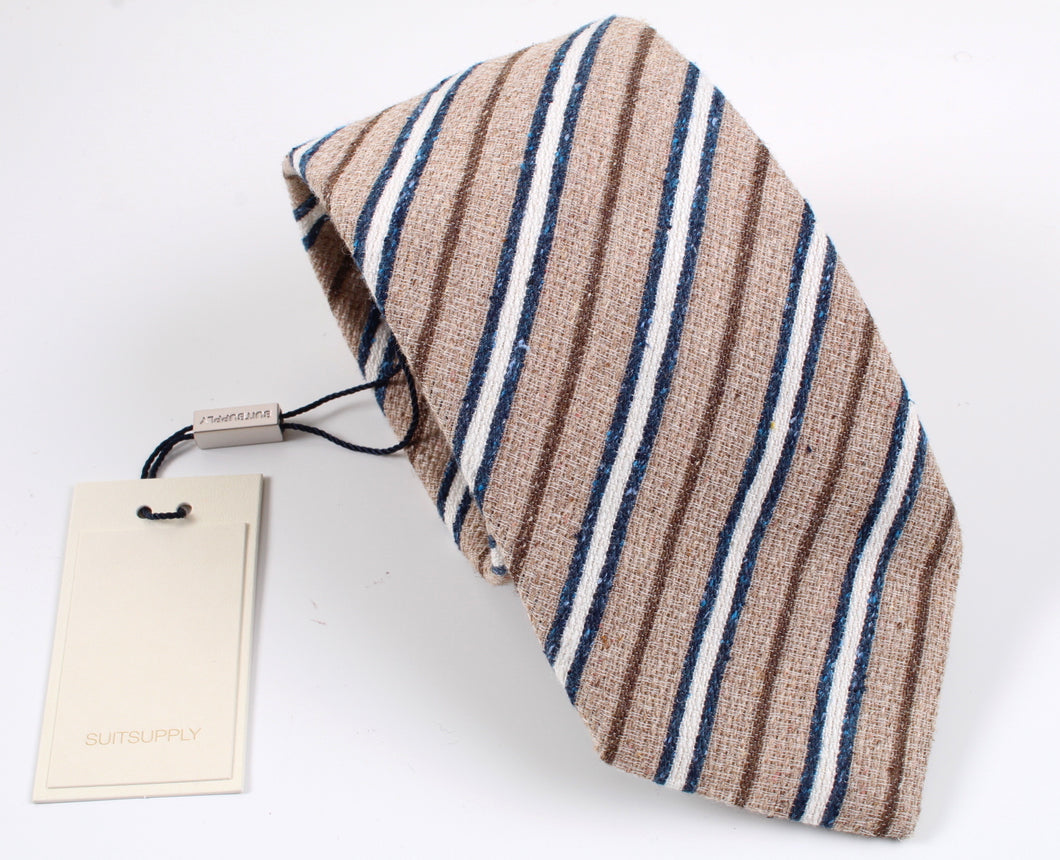 New With Tags SUITSUPPLY Light Brown Stripe Silk and Cotton Tie