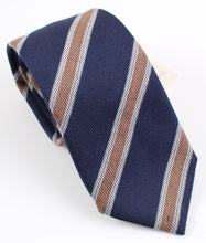 Load image into Gallery viewer, New With Tags SUITSUPPLY Navy Brown Stripe Virgin Wool and Silk Tie