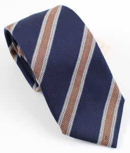 New With Tags SUITSUPPLY Navy Brown Stripe Virgin Wool and Silk Tie