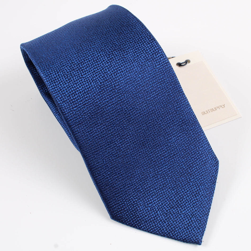 New With Tags SUITSUPPLY Blue Plain 100% Silk Tie