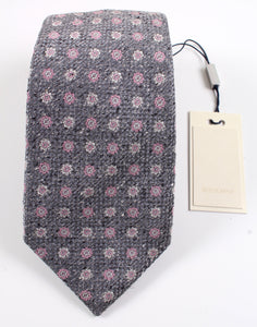 New With Tags SUITSUPPLY Silver and Pink Flower 100% Silk Tie