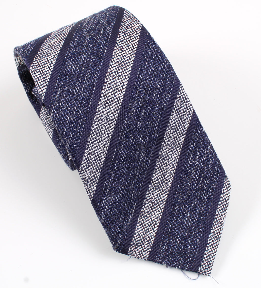 New With Tags SUITSUPPLY Navy Silver Silk, Linen and Wool Tie