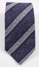 Load image into Gallery viewer, New With Tags SUITSUPPLY Navy Silver Silk, Linen and Wool Tie