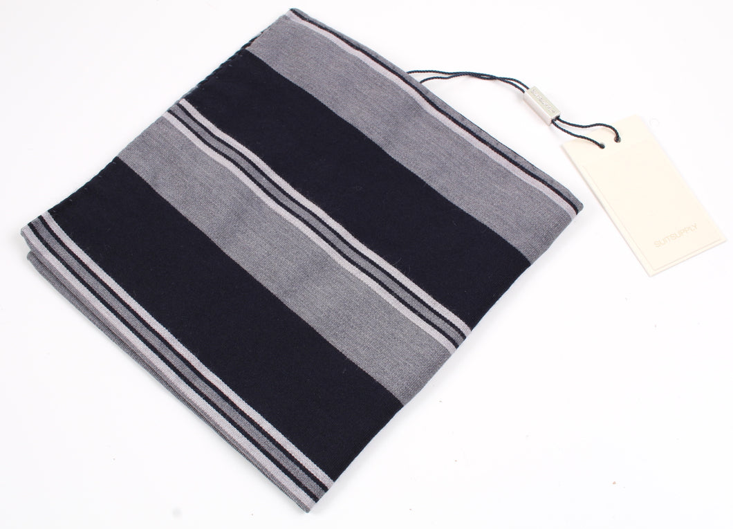 New With Tags SUITSUPPLY Black Stripe Wool and Cotton Pocket Square