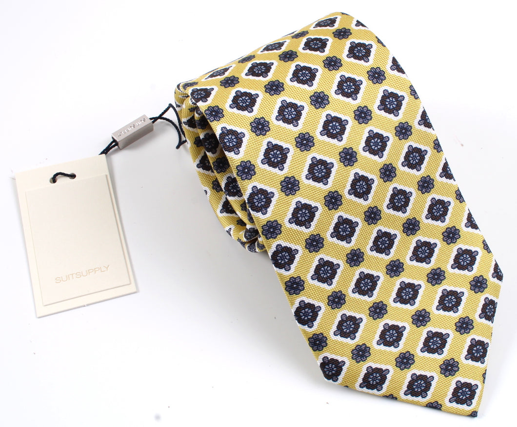 New With Tags SUITSUPPLY Gold Flower 100% Silk Tie