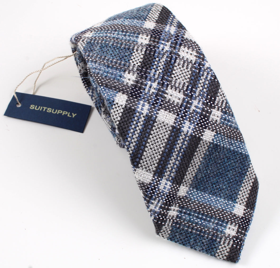 New With Tags SUITSUPPLY Blue Check Wool, Silk and Polymide Tie