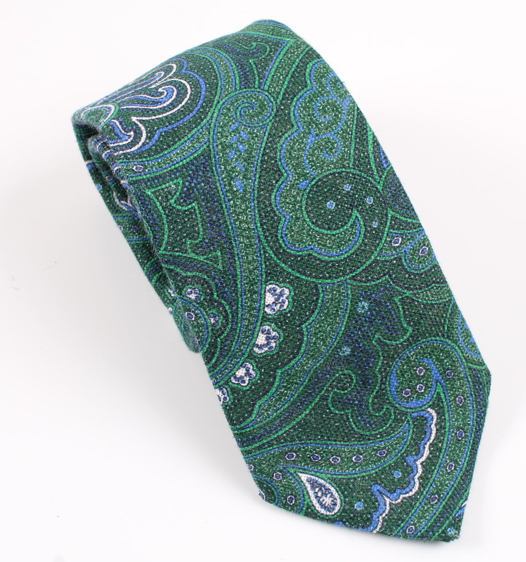 New With Tags SUITSUPPLY Green Paisley 100% Linen Tie