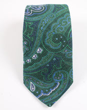 Load image into Gallery viewer, New With Tags SUITSUPPLY Green Paisley 100% Linen Tie