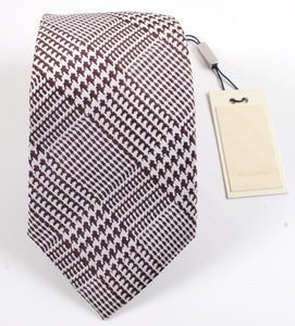 New With Tags SUITSUPPLY Brown Houndstooth Check 100% Silk Tie
