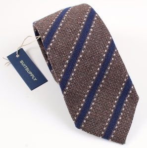 New With Tags SUITSUPPLY Brown Navy Stitch Stripe Wool and Silk Tie