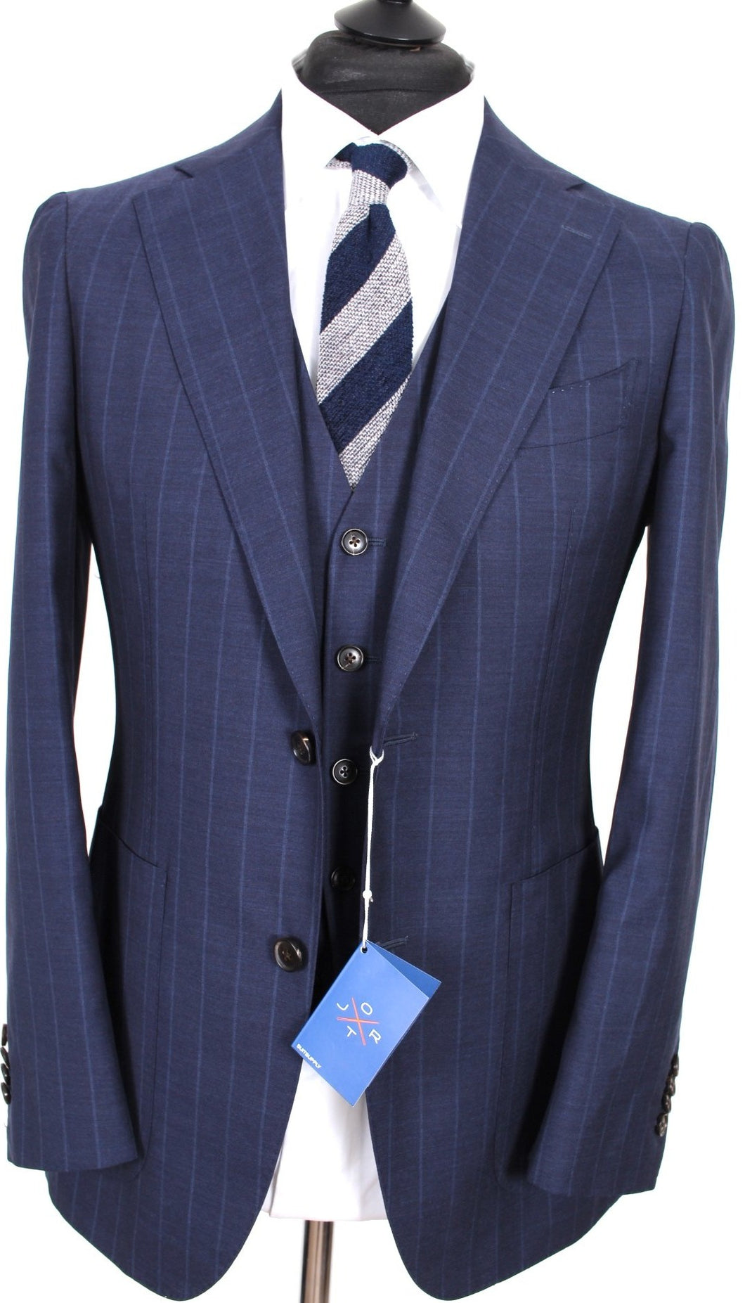 New Suitsupply JORT Navy Stripe 100% Wool 3 Piece Suit - Size 44R