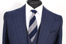 Load image into Gallery viewer, New Suitsupply JORT Navy Stripe 100% Wool 3 Piece Suit - Size 44R