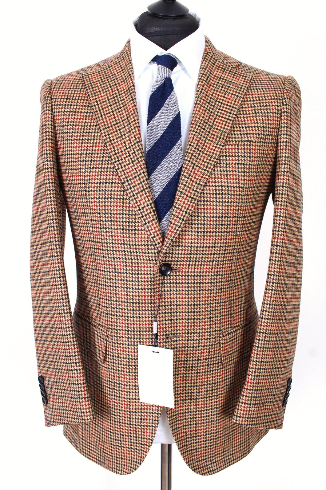 New Suitsupply Lazio Brown Houndstooth Wool and Cashmere Suit - Size 36S, 36R, 38S, 38R, 40S, 40R, 40L, 42S,  42L, 44S