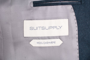 New Suitsupply Havana Pleated Green Plain Wool and Cashmere Blazer - Size 38R