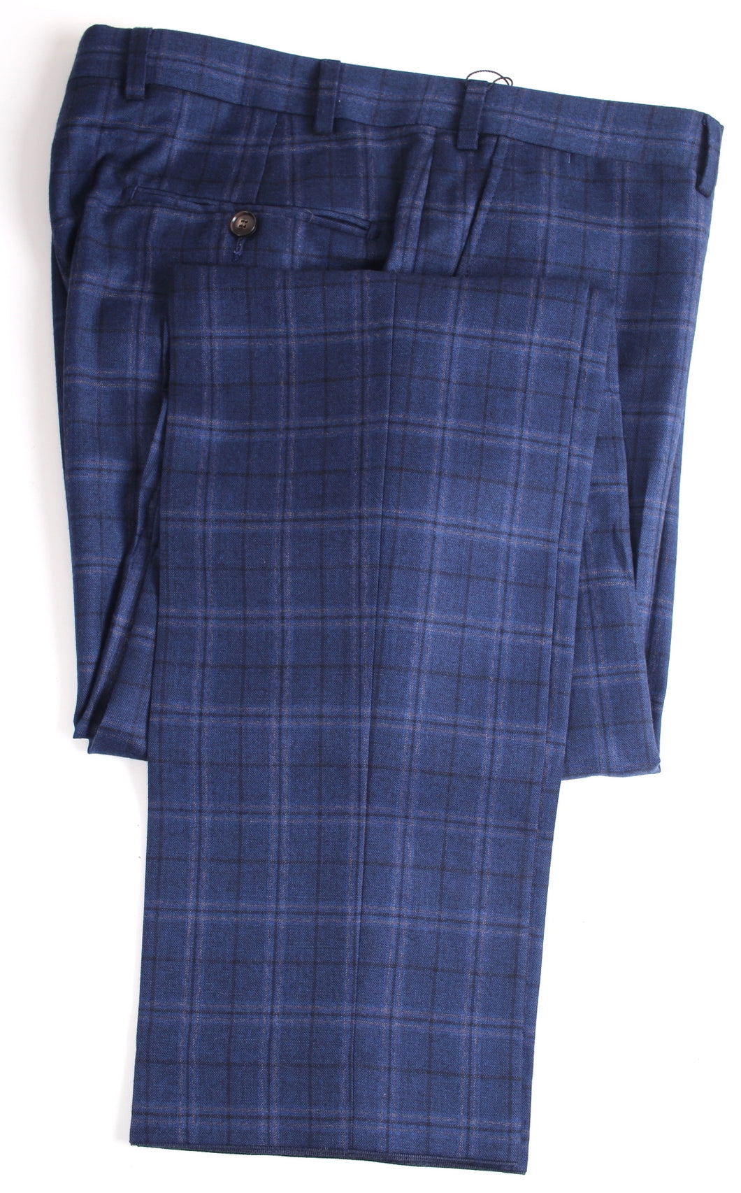 New Suitsupply Brescia Blue Check Wool and Cashmere Trousers - Size 40R (35.4 inch)
