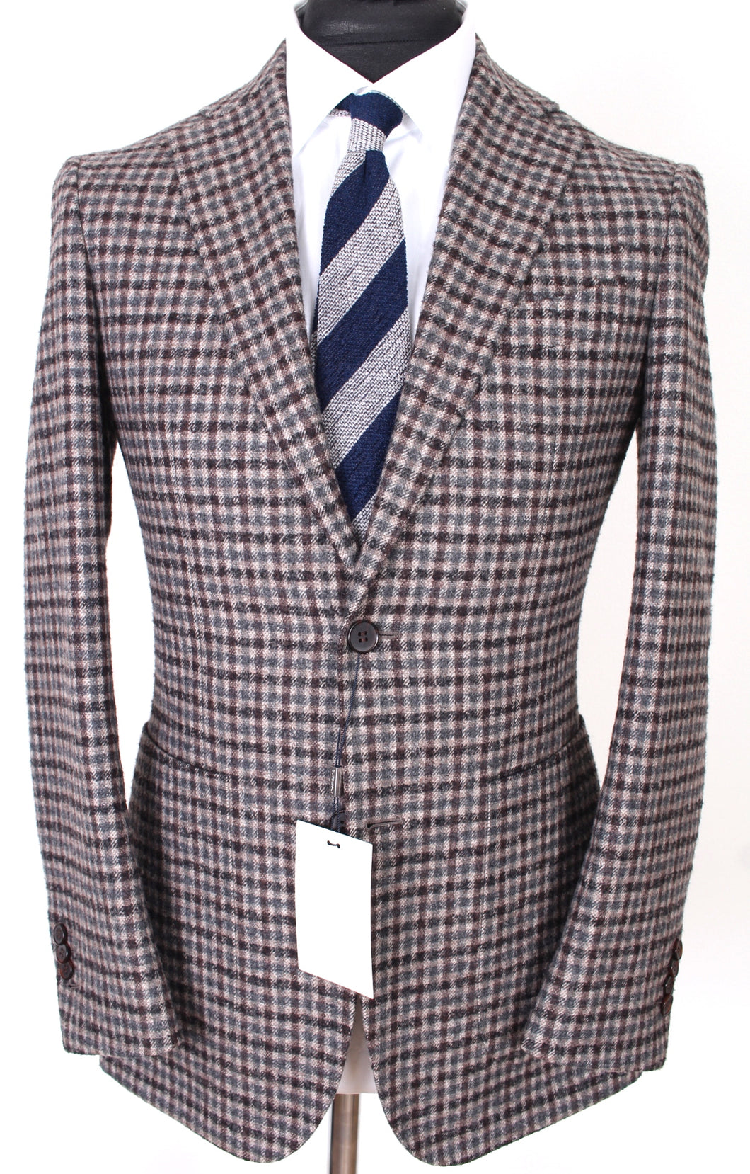 New Suitsupply Mid Brown Check 90% Wool Blazer - Size 36R