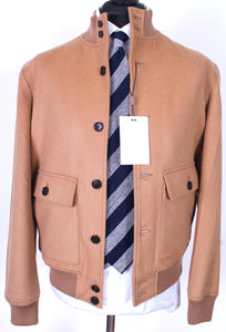 New Suitsupply Camel Colored 100% Wool Bomber Jacket - Size L and XL